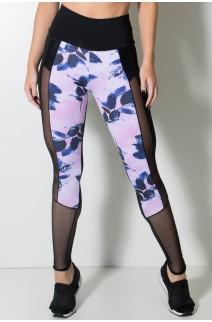 Calça Lisa com Detalhe Estampado e Tule (Preto / Rosa com Galhos e Folhas Pretas) | Ref: KS-F2141-001