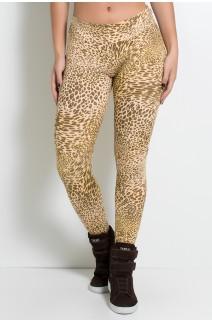 Calça Legging Estampada Cós Baixo (Oncinha Marrom Bege e Amarelo) | Ref: KS-F343-006