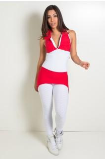 Macacão Tecido Bolha 2 Cores (Branco / Vermelho)   Ref: KS-F598-002