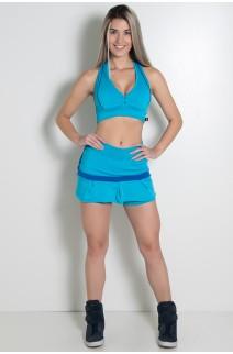 Conjunto Top e Short Saia Duas Cores (Azul Celeste / Azul Royal) | Ref: KS-F725-002