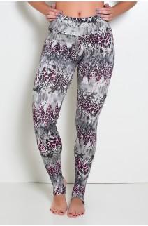 Calça Legging Estampada com Pezinho (Cinza com Oncinha Rosa)   Ref: KS-F192-007