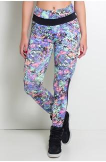 Calça Estampada com Detalhe Liso Grazi (Mosaico Azul Verde e Rosa / Preto) | Ref: F251-002