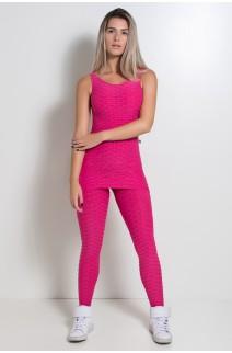 Macacão com Tapa Bumbum Tecido Bolha (Rosa Pink) | Ref: KS-F262-004
