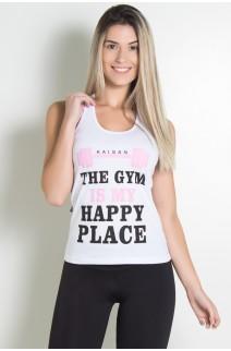 Camiseta de Malha Nadador (The gym is my happy place) (Branco) | Ref: KS-F318-002