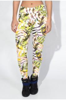 Calça Legging Estampada Cós Baixo (Branco com Folhagem Colorida) | Ref: KS-F343-001