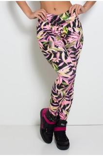 Legging Rafaela Estampada com Cós Transpassado (Preto com Folhas Verdes e Rosa Fluor) | Ref: KS-F466-002