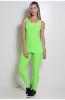 Macacão Saia Tecido Bolha Fluor (Verde Limão Fluor) | Ref: KS-F299-002