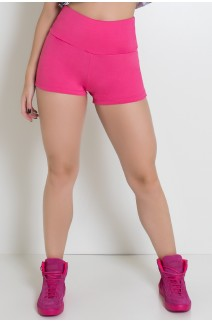 Short Liso Cós Alto Levanta Bumbum (Rosa Pink) | Ref: KS-F1833-002