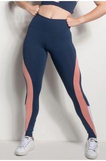 Calça Cós Regular Com Detalhe Em Tela (Azul Marinho / Coral Tandy / Branco) | Ref: CAL429-003/021/002