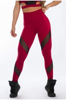 Calça Legging com Detalhe Tule Diagonal (Vinho) | Ref: K2425-B