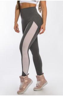 Calça Legging com Detalhe em Tela (Mescla / Branco) | Ref: K2427-B