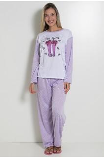 Pijama feminino longo 124 (Lilás)