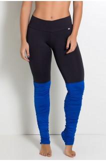 Calça Legging Duas Cores com Perna Franzida (Preto / Azul Royal) | Ref: KS-F1792-004