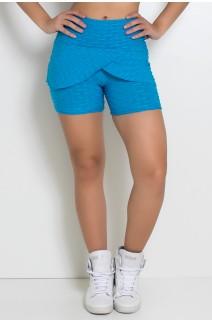 Short Saia Fernanda Tecido Bolha (Azul Celeste) | Ref: KS-F400-002