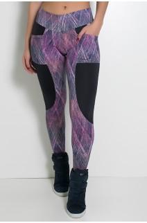 Calça Estampada com Detalhe Liso Adriane (Roxo e Rosa com Rabiscos / Preto) | Ref: KS-F266-001