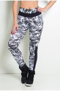 Calça Estampada com Detalhe Liso Grazi (Rabiscos Preto e Branco / Preto) | Ref: KS-F251-003