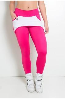 Calça Katherine com Bolso em Detalhe Dry Fit (Rosa Pink / Branco) | Ref: KS-F690-006