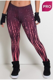 Legging Sublimada PRO (Rosa Neon com Riscos Pretos) | Ref: NTSP08-002