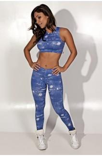 Conjunto Cropped e Legging Jeans Suplex | Ref: KS-F1227