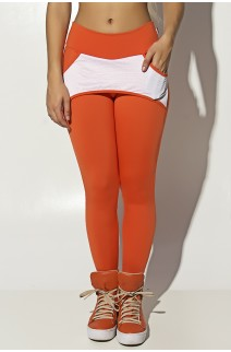 Calça Katherine com Bolso em Detalhe Dry Fit (Laranja / Branco) | Ref: KS-F690-003