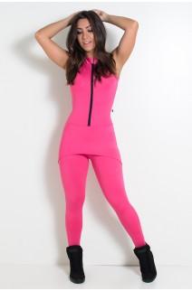 Macacão Gracy com Tapa Bumbum e Zíper (Rosa Pink) | Ref: KS-F604-002