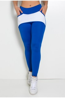 Calça Katherine com Bolso em Detalhe Dry Fit (Azul Royal / Branco) | Ref: KS-F690-007