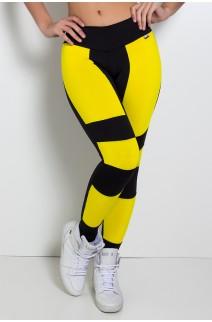 Calça Rubi Duas Cores (Preto / Amarelo) | Ref:F691-002