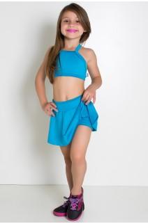 Conjunto Infantil Top + Short Saia Lisos (Azul Celeste) | Ref: KS-F1898-003