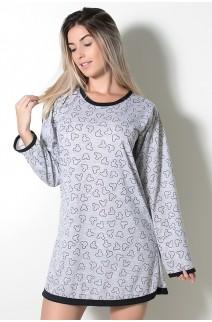 Camisola Manga Longa Estampada Cinza 148 | Ref: CEZ-PA148-001