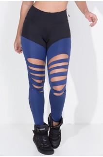 Calça Duas Cores Rasgada (Preto / Azul Marinho) | Ref: KS-F773-001