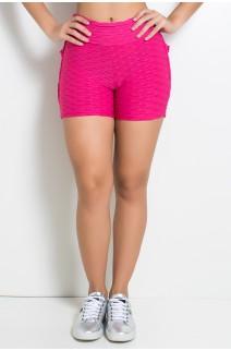Short Tecido Bolha Com Babado (Rosa Pink) |Ref: KS-F354-004