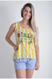 Babydoll Feminino 261 (Listrado amarelo)