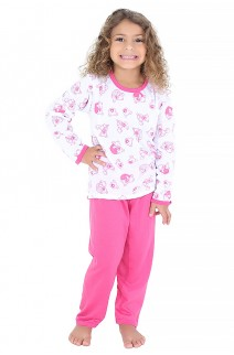 Pijama longo infantil 077 (Pink com ursinho) CEZ-PA077-001