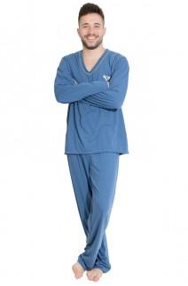 Pijama Mas. Longo 080 (Azul Acinzentado) | Ref: CEZ-PA080-002