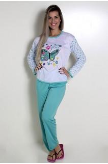Pijama Feminino Longo 081 (Verde com borboleta)