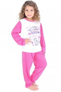 Pijama longo infantil 108 (Pink com poá branco) CEZ-PA108-002