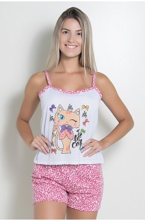 Babydoll Feminino 180 (Pink com gatinho)