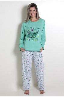 Pijama feminino longo 248 (Verde com borboleta)
