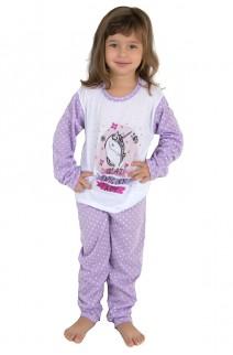 Pijama longo de Malha Infantil 108 (Lilás com poá branco) | Ref: CEZ-PA108-004