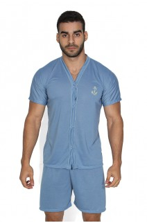 Pijama Mas. de Botão 168 (Azul acinzentado)