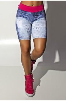 Bermuda Jeans Sublimada com Cós Rosa Pink | Ref.: KS-F1114-001