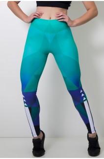 Calça Legging Sublimada Abstract Green    Ref: CAL358-041