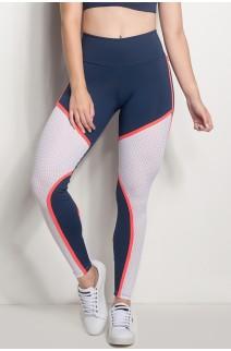 Calça Cós Regular Com Detalhe Em Tela (Azul Marinho / Branco) | Ref: CAL424-003/002/000