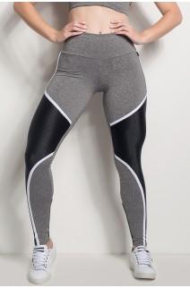 Calça Mescla Cós Regular Com Detalhe Em Textura (Mescla / Preto) | Ref: CAL425-018/001/000