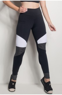 Calça 2 Cores Com Detalhe Listrado (Preto / Branco) | Ref: CAL428-001/002/001