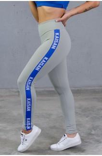 Calça Lisa com Faixa Lateral em Elástico | Poliamida Excelente! | (Cinza / Azul Royal) | Ref: KS-PL48-002