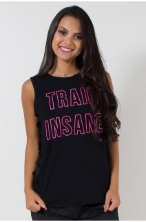 Camiseta Viscolycra com Silk e Rasgos Laterais | Train Insane | (Preto) | Ref: KS-PL03-001