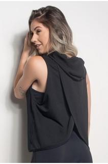 Camiseta Dry Fit Com Capuz E Transpassado Nas Costas (Preto) | Ref: CMT105-001/000/000