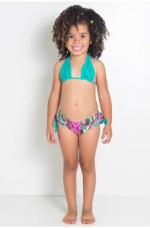 Biquini Cortinão com Calcinha Estampada Infantil (Verde Esmeralda / Setas Verde Rosa e Roxa) | Ref: DVBQ23-002