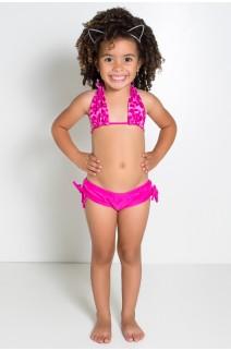 Biquini Cortinão com Calcinha Lisa Infantil (Oncinha Vinho com Rosa Fluor / Rosa Pink) | Ref: DVBQ24-003